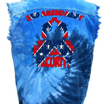 Men's Rebel Flag Sleeveless Denim Shirt Americas Original Homeland Security Tie Dye Vest