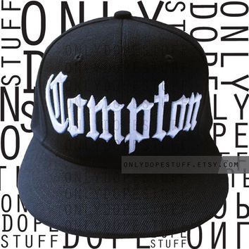 Compton Snapback Flat Bill Cap Black Hat Women Girls Men Boys Unisex Embroidery Embroidered Fitted Cap Thug Life Gangsta Snapback
