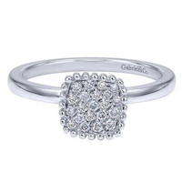"Gabriel Cushion Shaped Diamond Pave Cluster ""Bombay"" Ring"