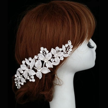 Bridal / Wedding Flower Rhinestone Hair Comb