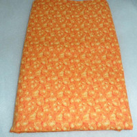 100% Vintage Orange Cotton Fabric/1 Yard Plus 11 Inches Cotton Fabric/Orange Cotton Yardage/Vintage Cotton Textile