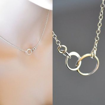 Silver Eternity Necklace, Three Circle Necklace, Sterling Silver Dainty Jewelry, Three Sister Jewelry