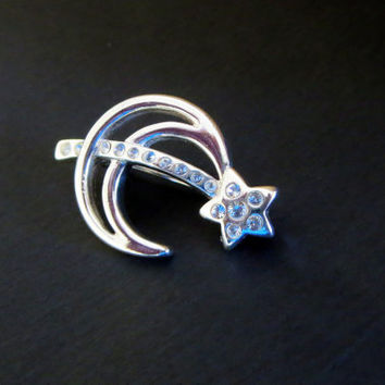 Monet Crescent Moon Pin, Vintage Silver Tone & Rhinestone with Shooting Star, Celestial Brooch Pin