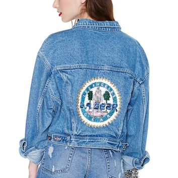 In Gear Cropped Denim Jacket