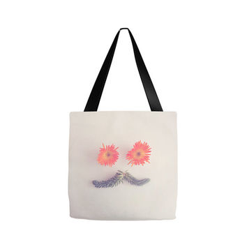 mustache tote bag, Floral Botanical Tote, Grocery sack, teacher gift, gym bag, cactus beach bag, yoga, diaper bag, gifts for her, birthday