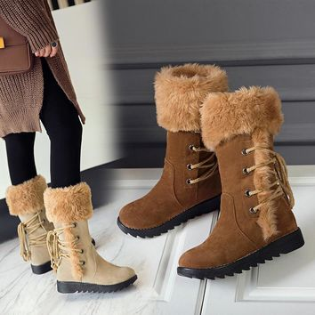 2018 Winter Casual Women Faux Suede Ug Mid Calf Snow Boots Woman Waterproof Plush Flat Boots Shoes With Thick Fur Botas Mujer