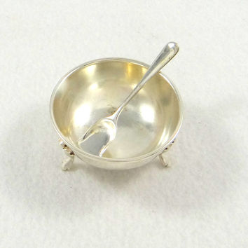 Mid Century Silver Plate Salt Cellar and Spoon