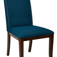 Office Star Hanson Dining Chair with Espresso Legs and bronze Nail head trim in Klein Azure Fabric [HSN-K14]