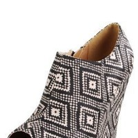 Enrich124 Tribal Diamond Printed Wedge Booties BLACK