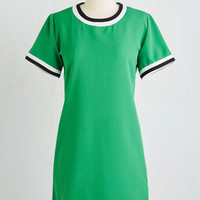 Athletic Mid-length Short Sleeves Shift Mod One Out Dress
