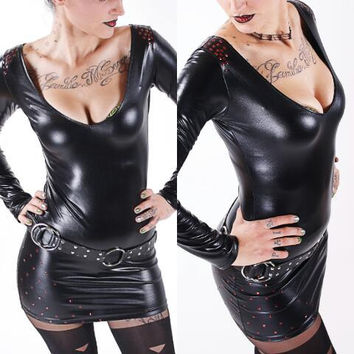 Black Moon - Studded WETLOOK Dress Rock Glam Glamrock Newrock Deathrock Gothic Fetish Clubwear Latex Rubber fauxleather Hot
