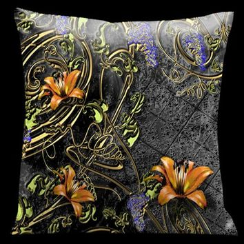 Lama Kasso 113 Como Gardens Black to Grey with Gold Vines and Orange Accents 18 x 18 Satin Pillow