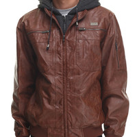 Faux Leather Jacket w/ attached fleece hoody by Buyers Picks
