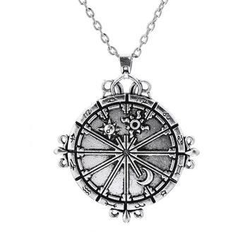 Dawapara steering-wheel sun and moon jewelry pendants for lovers supernatural POWER necklace star women retro bijouterie china