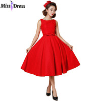 Women Summer Bowknot Dresses 2016 Retro Audrey Hepburn Party Robe Rockabilly 50s 60s Pinup Housewife Vintage Dresses MISSDRESS
