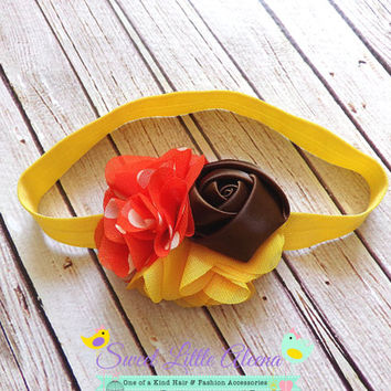 Orange Brown Yellow Headband, Fall Autumn Headband, Baby Girl Hairband, Newborn Hair Flower Bow, Infant Head Band, Hair Clip, Kids Headband