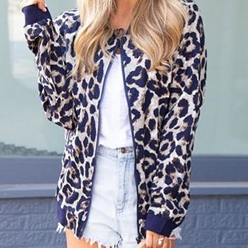 New Blue Leopard Zipper Collarless Fashion Outerwear