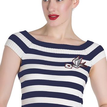 Striped Hailey Top in Navy and White | Blame Betty