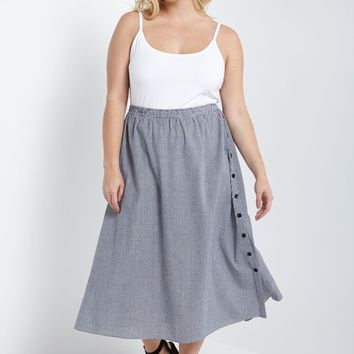 Gingham Side Button Midi Skirt Plus Size