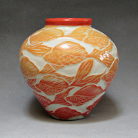 Gold and Coral Fish... Medium Round Vase... In Stock