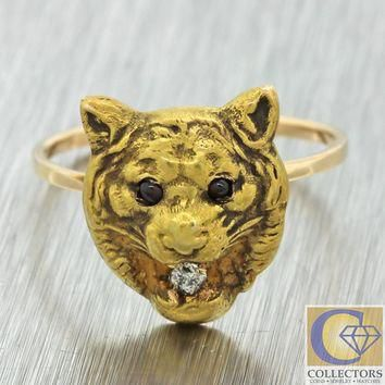 1890s Antique Victorian 14k Solid Gold Diamond Ruby Lion Cat Jaguar Puma Ring