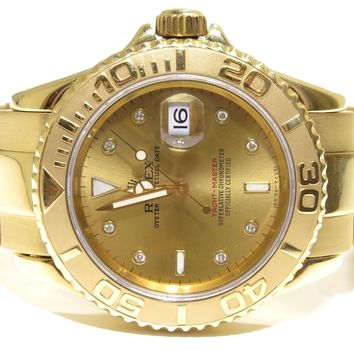 Rolex Yacht-Master 18k Yellow Gold Champagne Diamond Dial Mens 16628 Watch