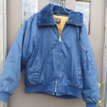 hipster 80s mens  bomber style all nylon faux fur collar  quilted lining  jacket  sz 48 men  unisex by Blair