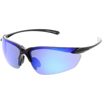 Sports Semi-Rimless TR-90 Wrap Sunglasses Ultra Slim Arms Colored Mirror Lens 76mm