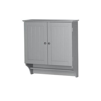Grey 2-Door Bathroom Wall Cabinet with Towel Bar