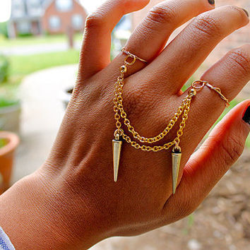 Gold Spike Double Chain Ring