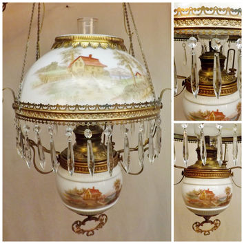 Antique Victorian Brass Hanging Oil Light w Crystal Prisms Milk Glass