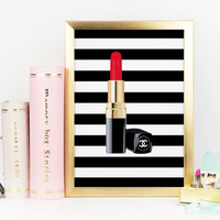MAKEUP BATHROOM PRINT,Fashion Illustration,Makeup Art,Chanel Lipstick,Coco Chanel Logo,Chanel Print,Gift For Her,Gift For Birthday,Fashion