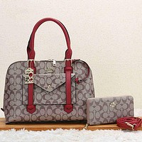 COACH Women Leather Fashion Handbag Tote Shoulder Bag Purse Wallet Set Two Piece