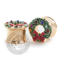 Ugly Christmas Sweater Wreath Gold Double Flared Steel Plugs