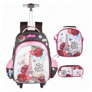 School Backpack JASMINESTAR 3PCS Trolley School Bags Girl Cartoon Backpacks Kids Satchel Luggage Large Capacity Wheeled School Bags For Girls AT_48_3