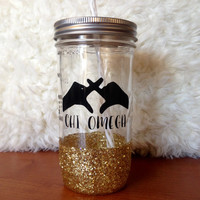 Personalized Throw What You Know Sorority Sparkly Mason Jar Tumbler- Chi Omega