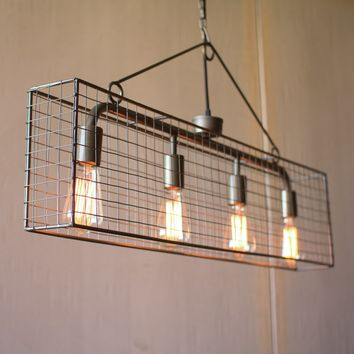 Wire Mesh Narrow Wire Chandelier -- 36-in