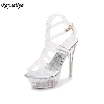 Brand Women Sexy 14CM High Heel White Sandals Platform Clear Heels Large Size 35-43 Lolita Jelly Transparent Shoes MRNS-A0031