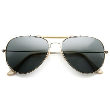Classic Outdoorsman Style Metal Aviator Sunglasses 55mm 8837