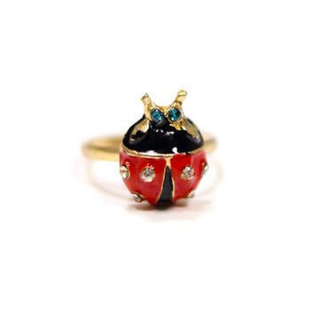 Ladybug Ring Midi Vintage Gold Tone Crystal Red Ladybird Insect RL23 Statement Fashion Jewelry