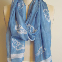 Handmade and Naturally Dyed Butterfly Blue Organic Silk Scarf