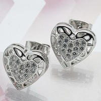 Rhodium Layered Women Heart Stud Earring, with White Micro Pave, by Folks Jewelry