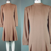 80s Pauline Trigere Dress Vintage 1980s Taupe Light Brown Long Sleeve Crepe L