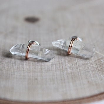 Copper Wire Wrap Quartz Crystal Stud Earrings, healing Crystals and stones, valentines day gift for her, bohemian hippie jewelry