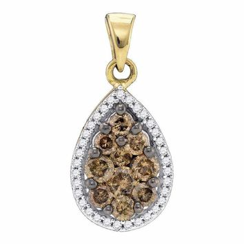 10kt Yellow Gold Women's Round Brown Color Enhanced Diamond Teardrop Pendant 3-4 Cttw - FREE Shipping (US/CAN)