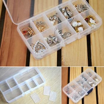 New Practical Adjustable Plastic 10 Compartment Storage Box Case Bead Rings Jewelry Display Organizer