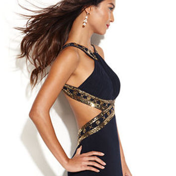 Betsy & Adam Beaded Cutout Halter Gown