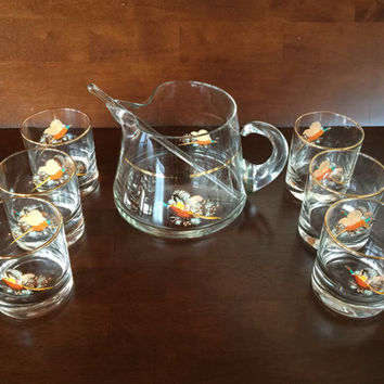 Vintage Pheasant Glass Cocktail Set By West Virginia Glass