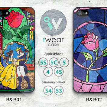 Beauty and Beast iPhone 4 Case,iPhone 4s Case,iPhone 5 Case, Disney Rose Glass iPhone 4 4g 4s 5 Hard Case Rubber Case,cover skin