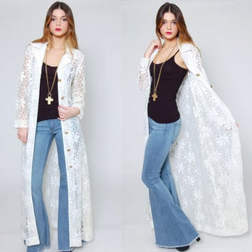 Vintage 70s LACE Duster Long Sleeve White FLORAL Long Boho Jacket Lace Top